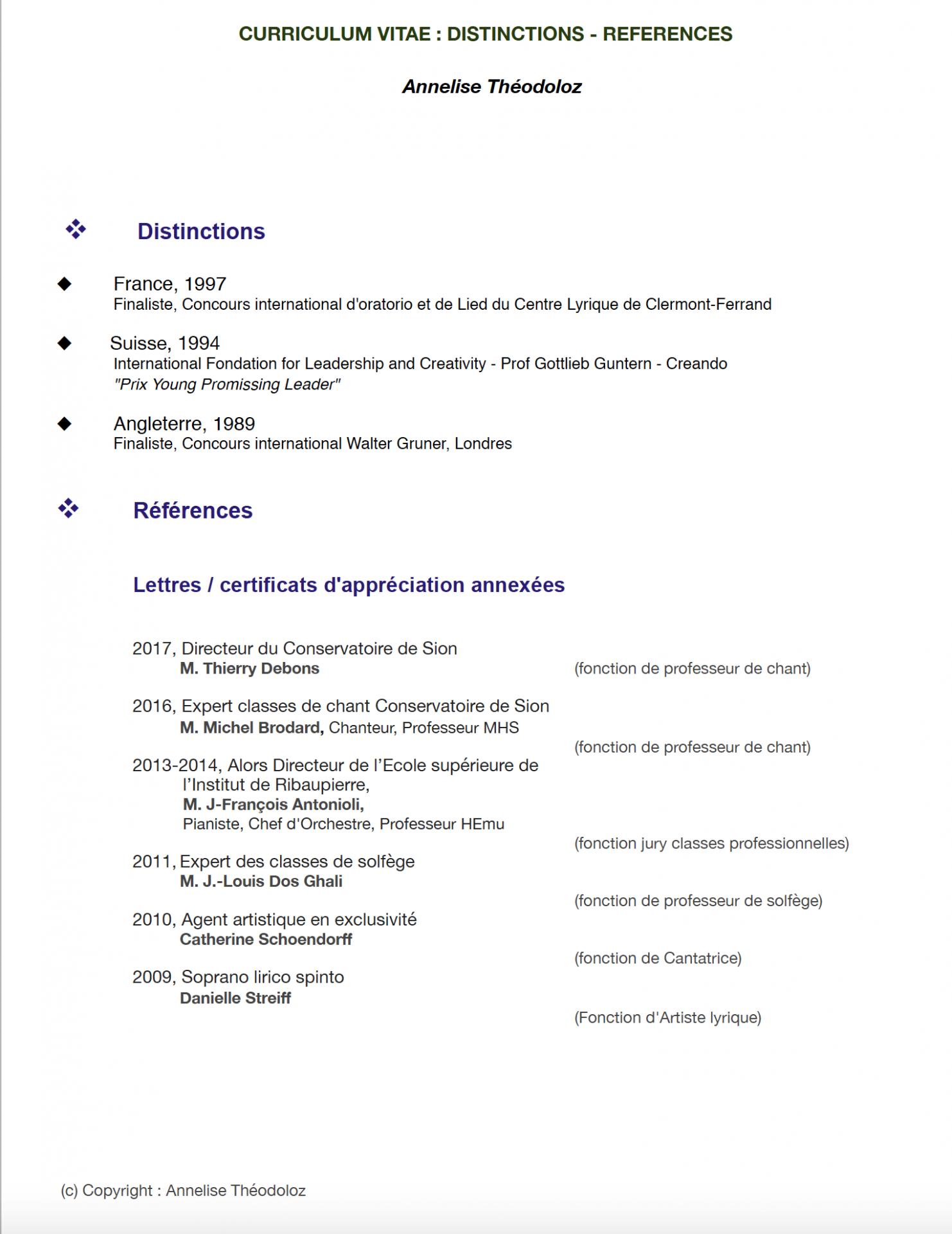2018 CV Annelise Distinctions Références 84