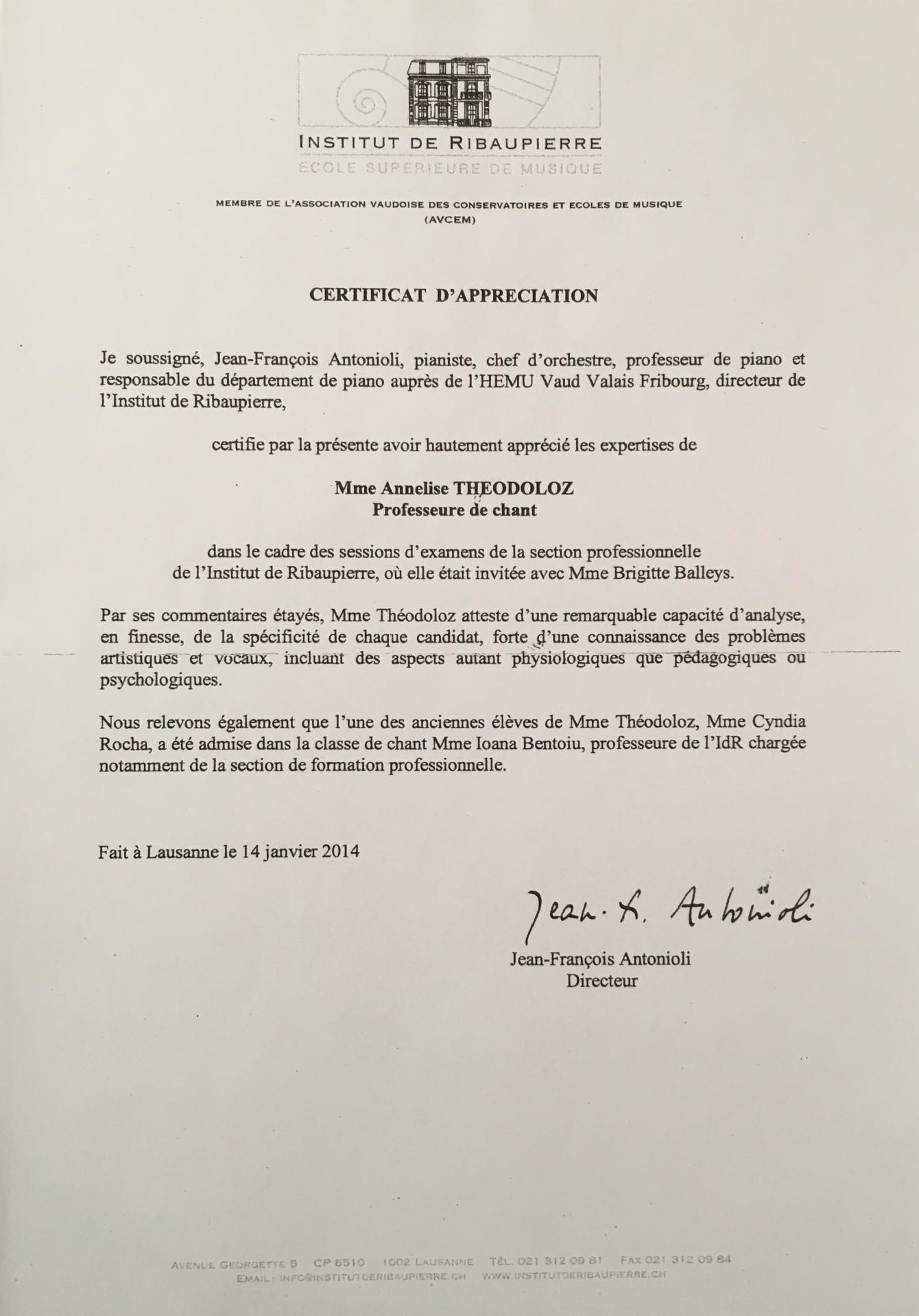 Certificat d'appréciation de M. Jean-François Antonioli