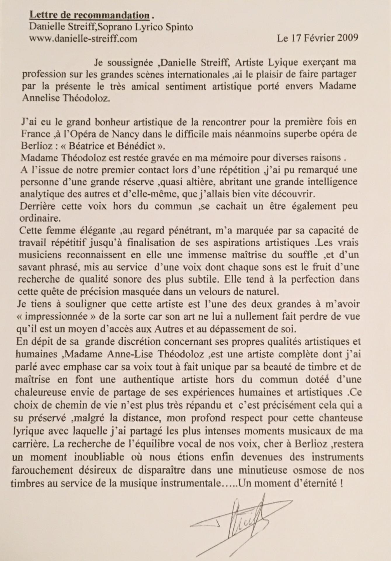 Recommandation Annelise Par D. Streiff